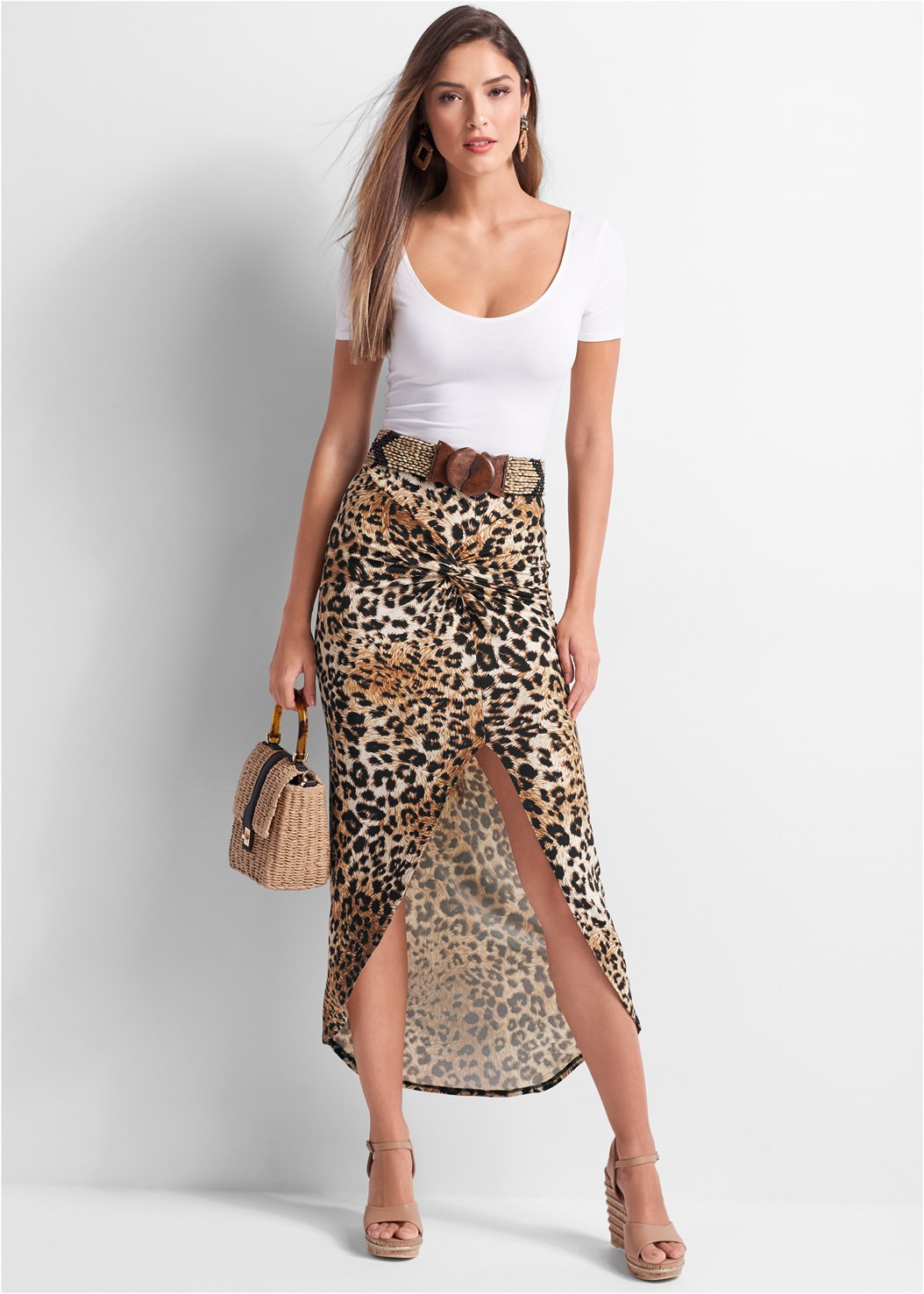 Leopard Print Maxi Skirt,Scoop Neck Bodysuit,Push Up Bra Buy 2 For $40,Metallic Stripe Wedges,Wicker Straw Bag