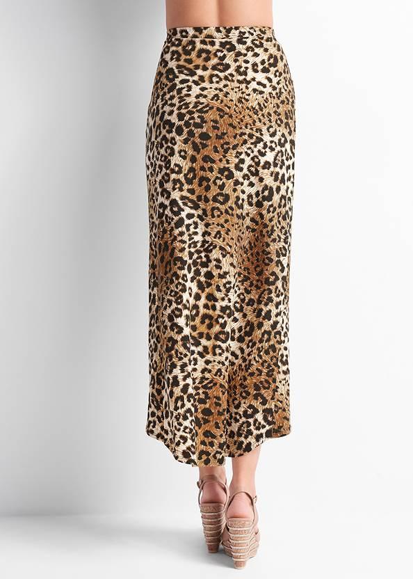 Waist down back view Leopard Print Maxi Skirt