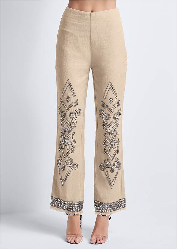 Waist down front view Embellished Linen Pants