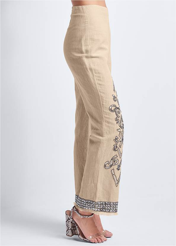 Waist down side view Embellished Linen Pants