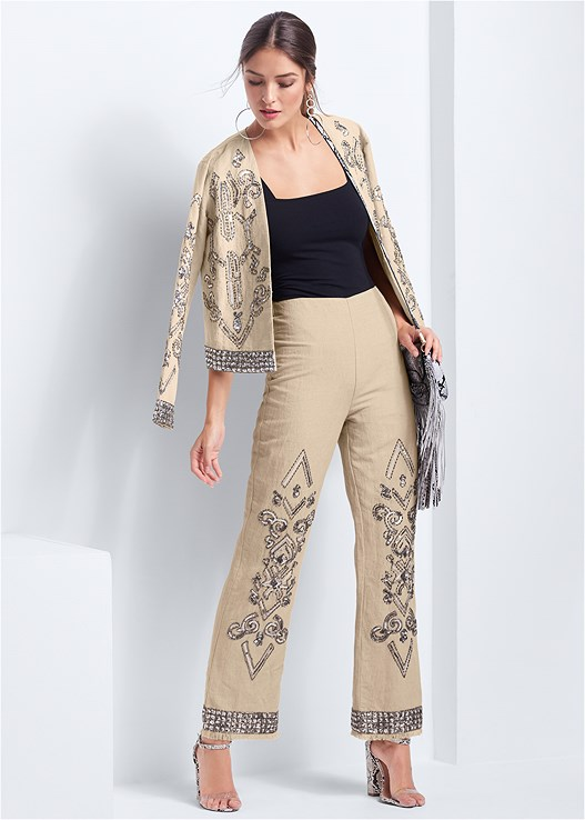 EMBELLISHED LINEN PANTS,SQUARE NECK BODYSUIT,EMBELLISHED LINEN TOP,EMBELLISHED LINEN JACKET,LUCITE DETAIL PRINT HEELS,FRINGE CROSSBODY