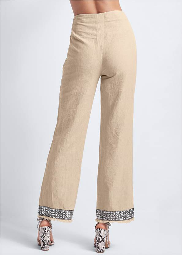 Waist down back view Embellished Linen Pants