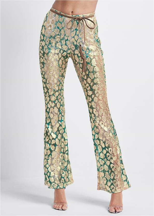 Waist down front view Metallic Lace Pants