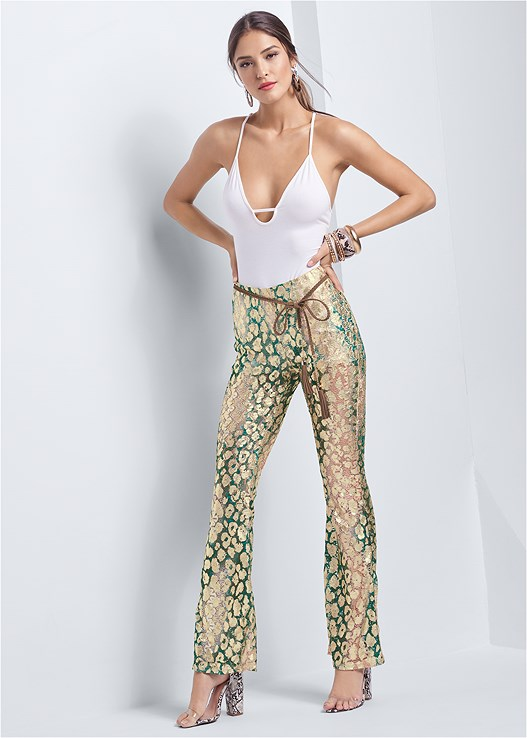 METALLIC LACE PANTS,STRAPPY DETAIL BODYSUIT,LACE THONG 3 FOR $19,LUCITE DETAIL PRINT HEELS,ANIMAL PRINT BANGLE SET,EMBELLISHED RESIN EARRINGS