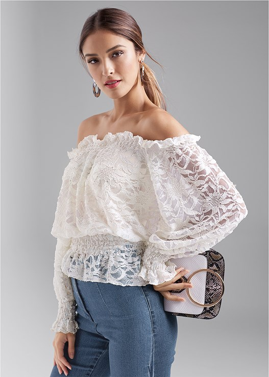 OFF THE SHOULDER LACE TOP,EMBELLISHED RIP JEANS,HIGH WAISTED DENIM JEAN,LUCITE DETAIL PRINT HEELS,HIGH HEEL STRAPPY SANDALS,PEARL DETAIL HOOP EARRINGS,EMBELLISHED RESIN EARRINGS,PRINT DETAIL HANDBAG,BEAD DETAIL CROCHET BAG