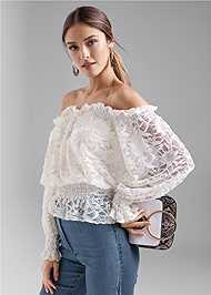 Front View Off The Shoulder Lace Top