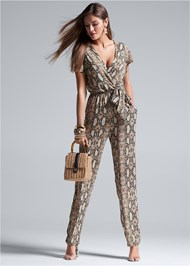 Full front view Tie Front Python Jumpsuit