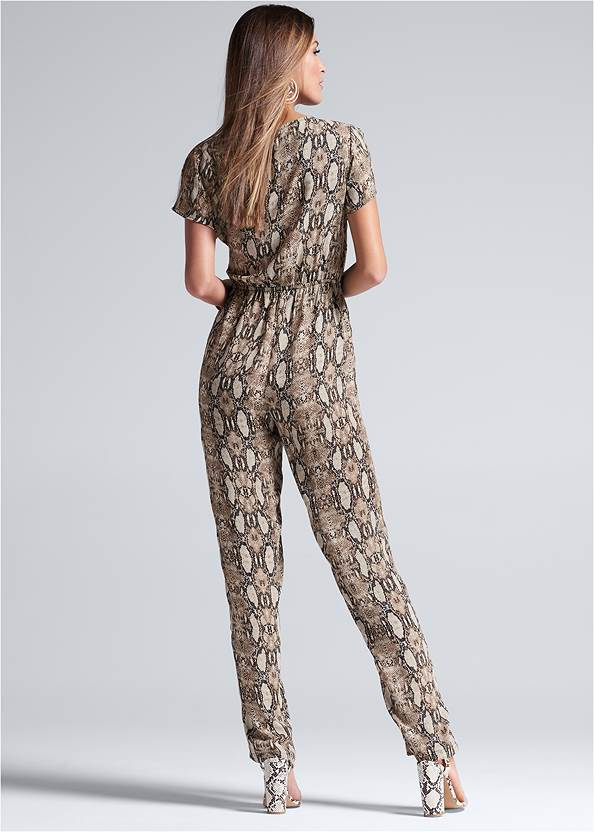 Full back view Tie Front Python Jumpsuit