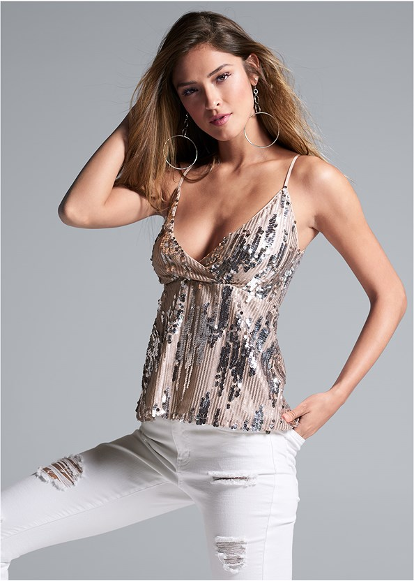 Sequin Detail Top,Triangle Hem Jeans,Lucite Detail Print Heels