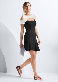 Full front view Cold Shoulder Casual Dress