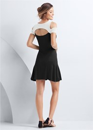 Full back view Cold Shoulder Casual Dress