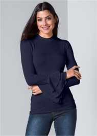Ruffle Sleeve Mock Neck Top