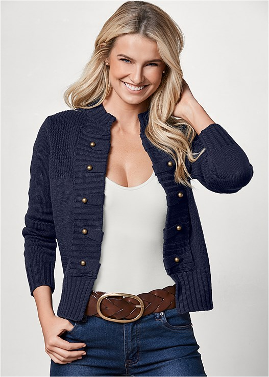 TAB BUTTON DETAIL CARDIGAN,SEAMLESS CAMI,COLOR SKINNY JEANS,LACE TOP PANTIES 5 FOR $29,BUCKLE KNEE HIGH BOOTS
