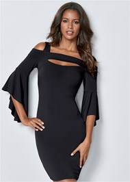 Cropped front view Cold Shoulder Bodycon Dress
