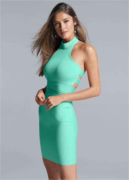 MOCK NECK BANDAGE DRESS,VENUS CUPID BRA,STRAPPY HEELS