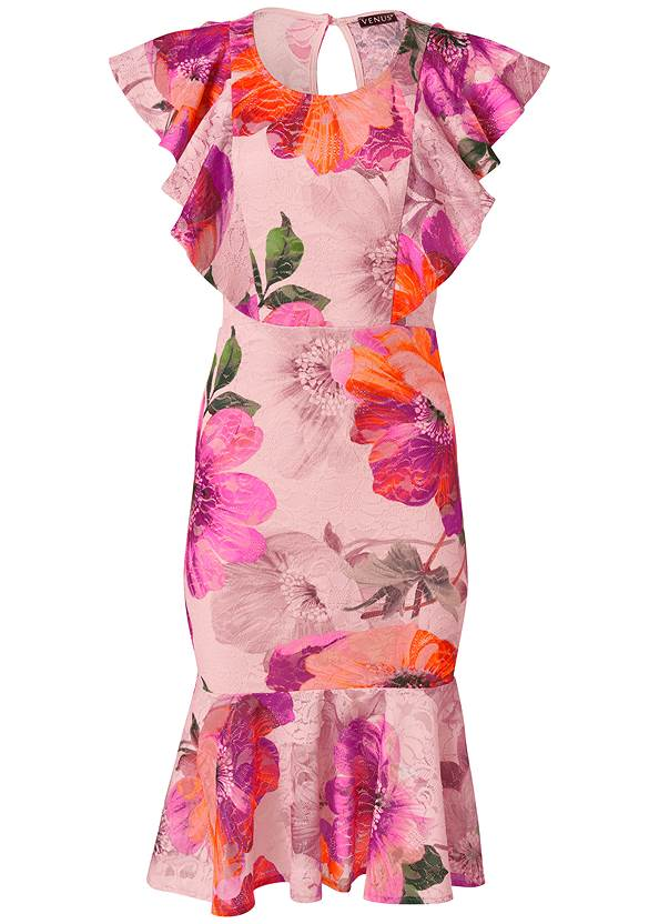 Ghost  view Floral Lace Ruffle Dress