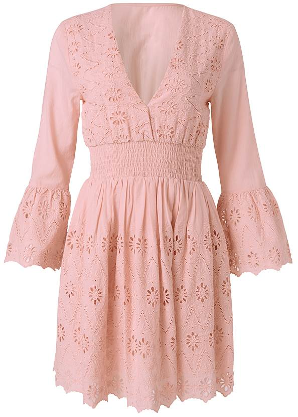 Ghost  view Eyelet Bell Sleeve Dress