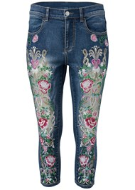 Ghost  view Embellished Denim Capri Jeans