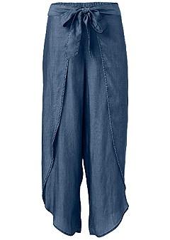 plus size chambray wrap pants