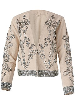plus size embellished linen jacket