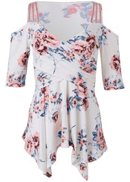 Ghost  view Cold Shoulder Floral Top