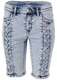 plus size acid wash bermuda shorts