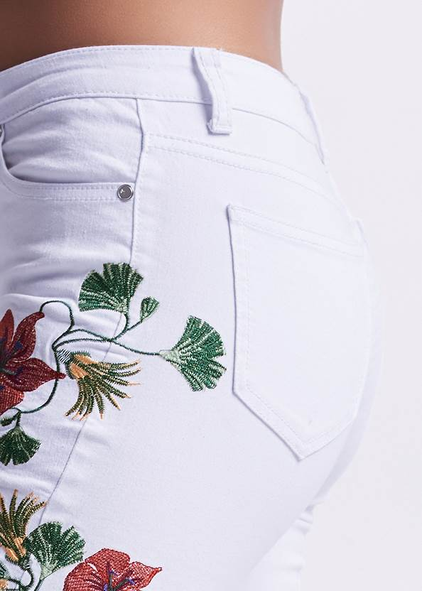 Alternate View Cropped Floral Embroidered Jeans