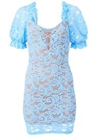 Full back view Puff Sleeve Lace Mini Dress