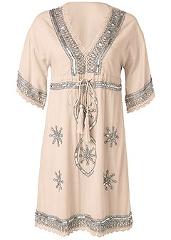 plus size embellished linen dress