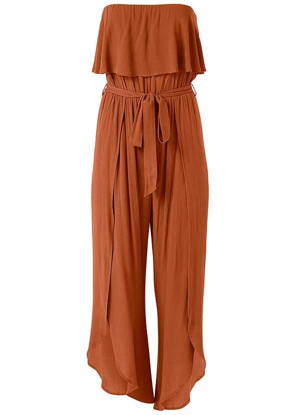 Side Slit Jumpsuit,Lucite Detail Print Heels,Animal Print Bangle Set