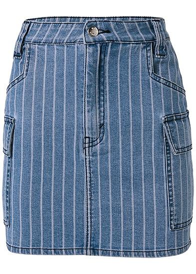 Plus Size Striped Mini Denim Skirt