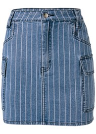 Alternate View Striped Mini Denim Skirt