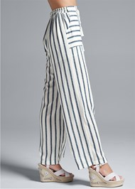Waist down side view Navy Striped Pants