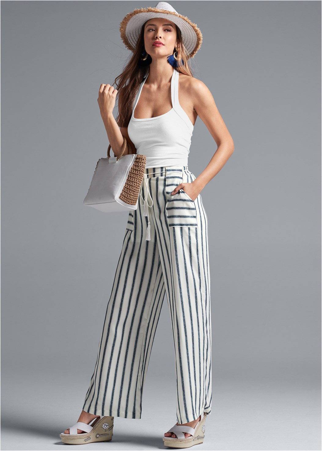 Navy Striped Pants,Easy Halter Top,Embellished Wedges,Color Block Straw Hat,Raffia Detail Bag