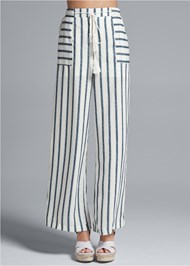 Waist down front view Navy Striped Pants