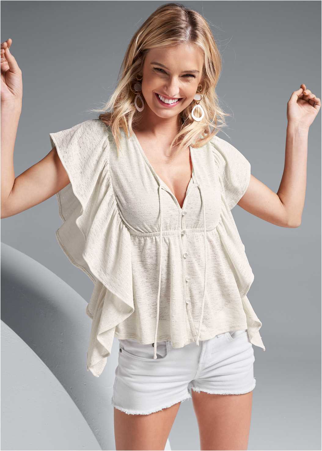 Ruffle Detail Button Up Top,Frayed Cut Off Jean Shorts,Embellished Wedges,Long Circle Earrings