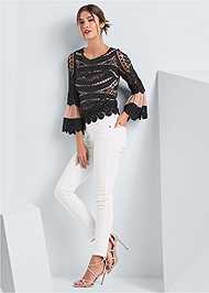 Full front view Crochet Lace Up Top