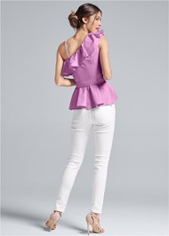 Alternate View One Shoulder Belted Blouse