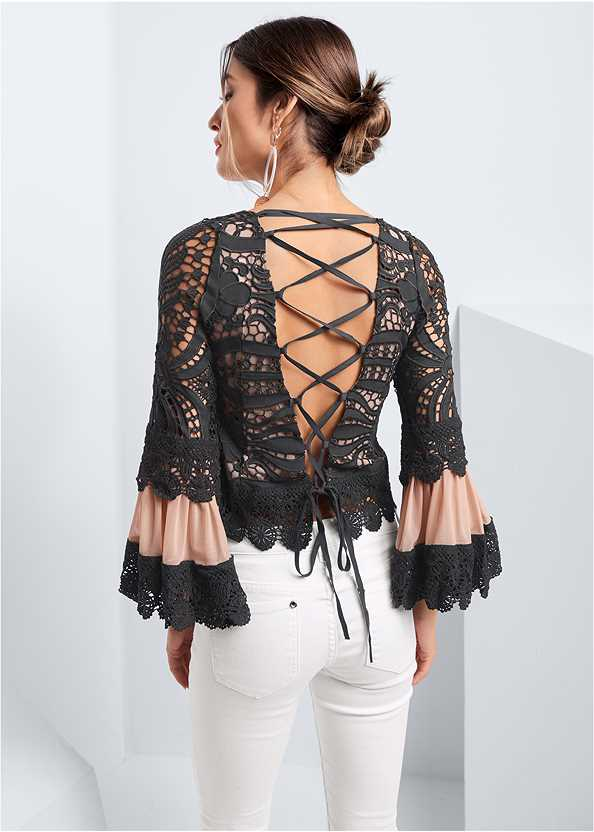 Crochet Lace Up Top,Mid Rise Color Skinny Jeans,Oversized Tassel Earrings