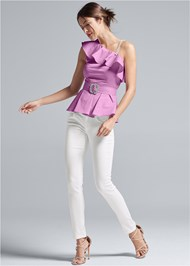 Front View One Shoulder Belted Blouse