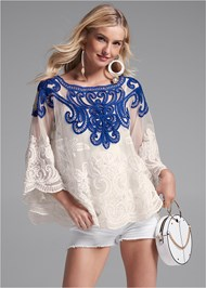 Cropped front view Embroidered Top