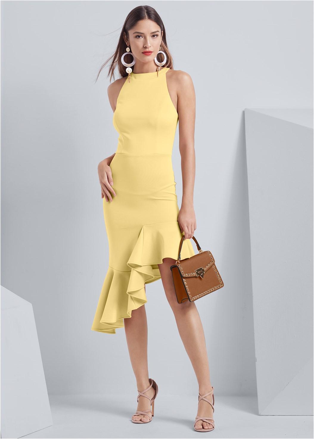 Ruffle Hem Dress,Bralette And Panty Set,Strappy Heels,Oversized Tassel Earrings,Stud Detail Handbag
