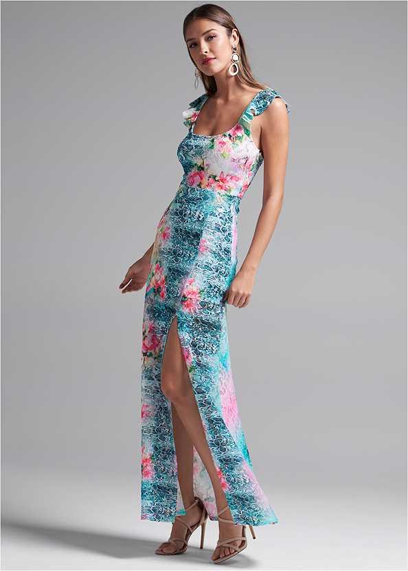 Floral Lace Dress,Long Circle Earrings