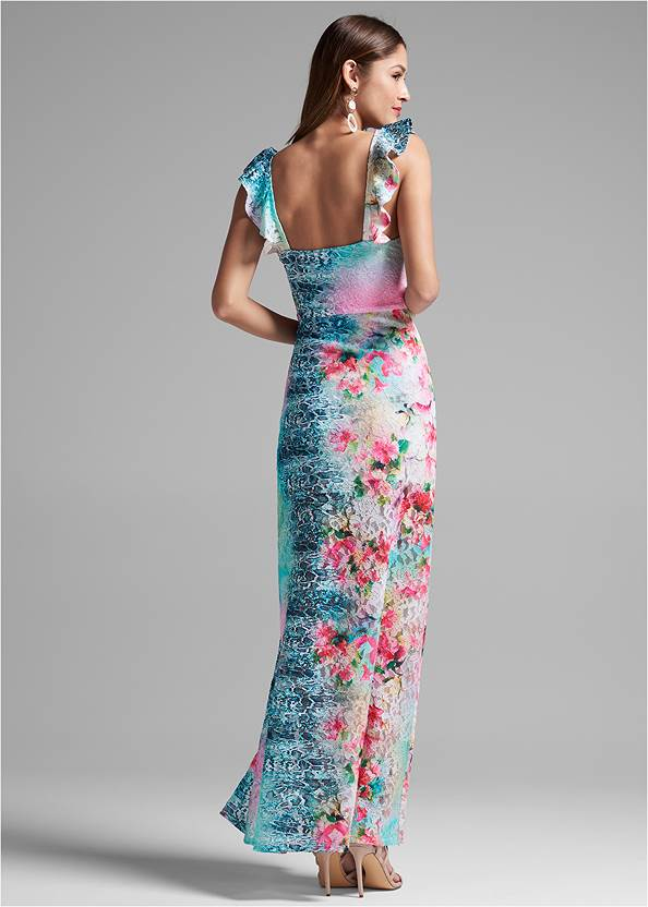 Full back view Floral Lace Dress