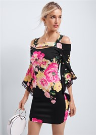 Cropped front view Floral Cold Shoulder Dress