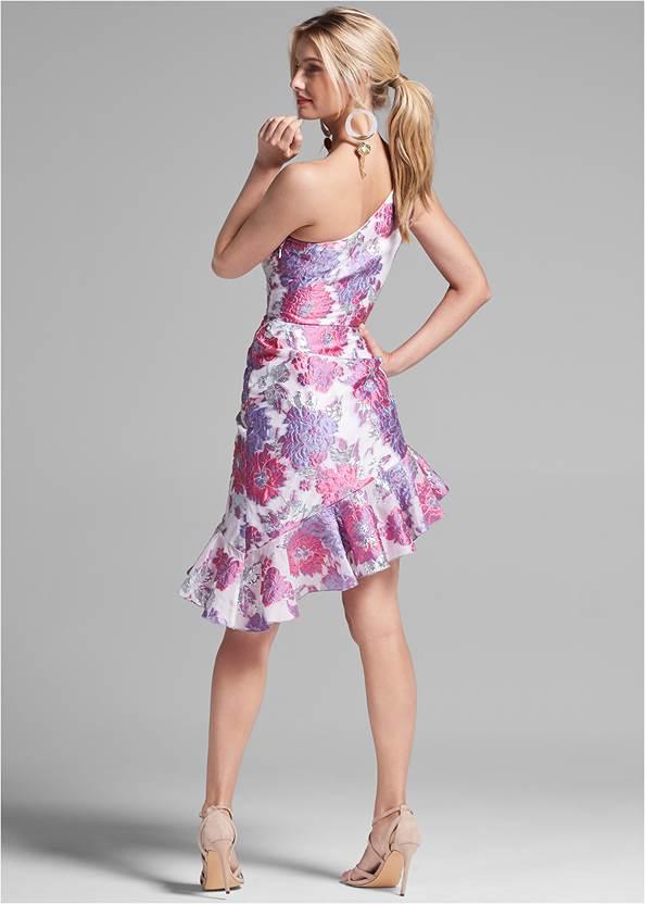 Full back view Floral Metallic Dress