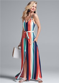 Full front view Stripe Maxi Dress