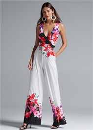 Full front view Floral Print Jumpsuit