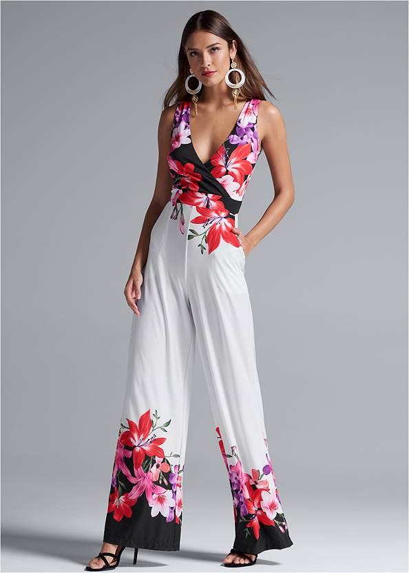 Full front view Floral Print Jumpsuit