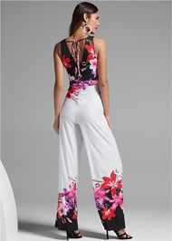 Full back view Floral Print Jumpsuit